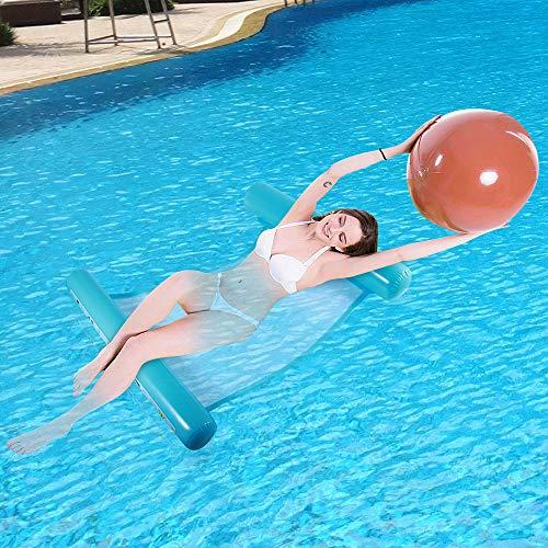 QHYK Aufblasbare Schwimmbett, WasserHängematte 4-in-1Loungesessel Pool Lounge, luftmatratze Pool aufblasbare hängematte Pool Spielzeug, Tragbar Wasserhängematte...