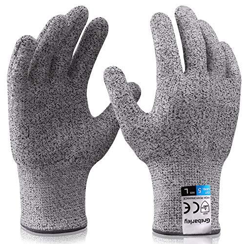 Grebarley Arbeitshandschuhe,Schnittschutzhandschuhe,Küchen Handschuhe,Level 5 Schutz,Lebensmittelecht,EN388 Zertifiziert,Gestrickt Handschuhe für...