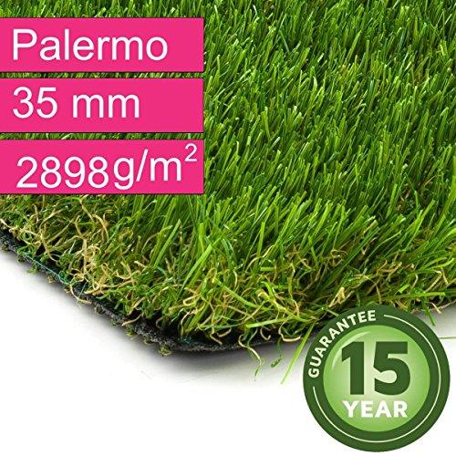 Kunstrasen Rasenteppich Palermo für Garten - Florhöhe 35 mm - Gewicht ca. 2889 g/m² - UV-Garantie 12 Jahre (DIN 53387) - 2,00 m x 0,50 m | Rollrasen |...
