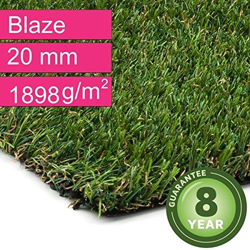 Kunstrasen Rasenteppich Blaze für Garten - Florhöhe 20 mm - Gewicht ca. 1898 g/m² - UV-Garantie 8 Jahre (DIN 53387) - 2,00 m x 0,50 m | Rollrasen |...