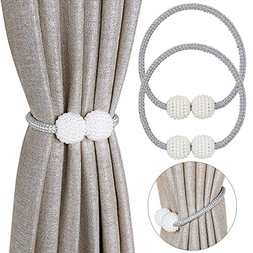 Pinowu curtain tieback magnetic (2 pieces), curtain holder elegant pearl holdbacks curtain clips with strong magnet for home textiles (gray)