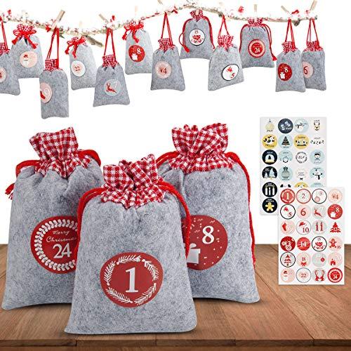 Adventskalender zum Befüllen, Orlegol 24 Adventskalender Säckchen aus Filz mit 1-24 Adventskalender Zahlen, Weihnachtskalender Bastelset, Weihnachten...