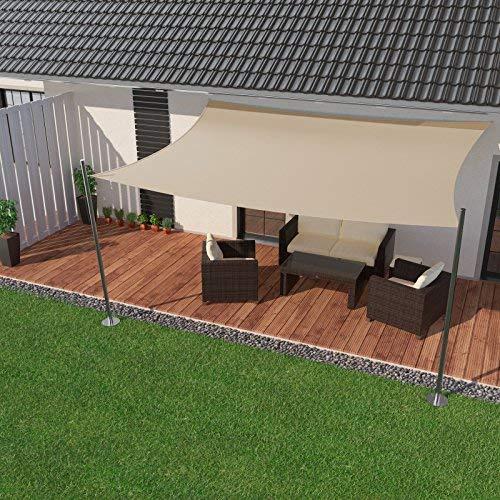 IBIZSAIL Sonnensegel wasserabweisend Sonnenschutz für Garten Balkon aus PES rechtwinklig-400 x 300 cm-Sand(inkl. Spannseilen)