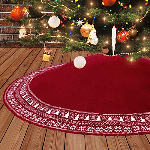 Dremisland Große Weihnachtsbaum Rock, 122cm Gestrickter Weihnachtsbaumdecke, Schneeflocken Baum Rock Runde Weihnachtsbaum Rock Matte Für Zuhause Weihnachtsfeier...