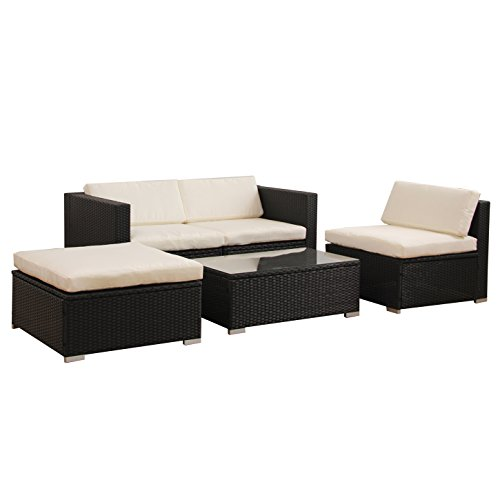gartenlounge poly rattan lounge schwarz polyrattan vergleichssieger im juli 2018. Black Bedroom Furniture Sets. Home Design Ideas