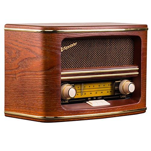 + Dual NR 1 DAB Nostalgieradio -Tuner, Sendersuchlauffunktion, Uhrzeit-//Datumsanzeige, Wecker, LCD-Display UKW//DAB Holzoptik